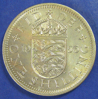 1956 1/- Elizabeth II 3+D English Shilling in an extremely high grade