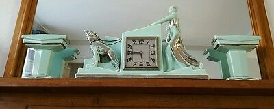 French ODYV  Art Deco Sea Foam Clock & Garnitures - Lady walking dogs - damaged