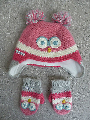 Rocha Little Rocha Girl's Owl Hat & Mittens Set Size 3-6 Years Ex Cond