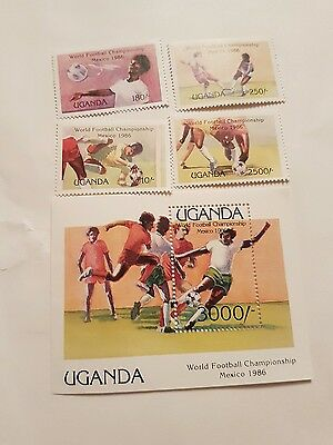 Uganda stamps commemorating the world cup Mexico 1986 .
