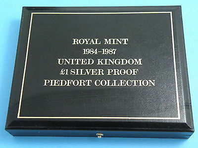 1984 to 1987 £1 ONE POUND SILVER PROOF PIEDFORT COIN SET - High Book Value £240