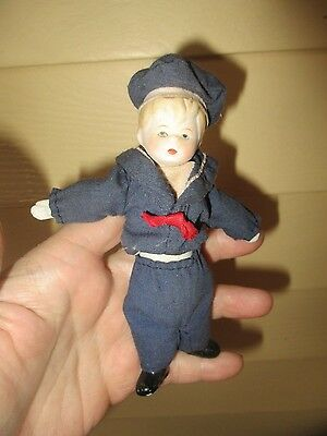 "5 "" Vintage boy doll bisque head /limbs with cloth body sailor boy"