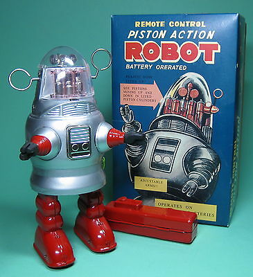 Schöner Roboter Piston Action Robot Silver Battery Operated Re Edition *****