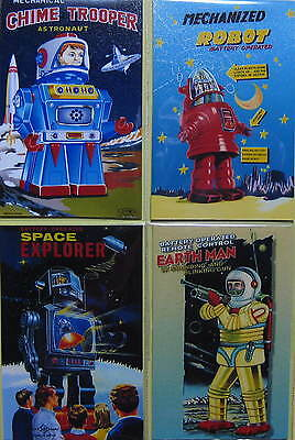 4er SET ROBOTER MAGNETE ANTIK TIN TOY ROBOT FRIDGE SET ROBOTS NO.5