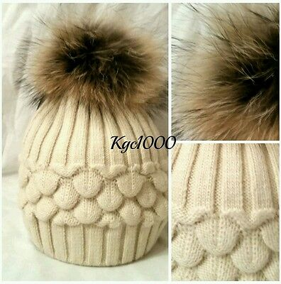 Natural Cream Bobble Hat Fur Pom Pom Beanie Ribbed Knitted Hats Cashmere Mix