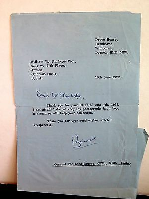 GENERAL THE LORD BOURNE GCB KBE CMG Baron AUTOGRAPH LETTER WW2 British soldier