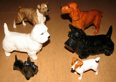 A Collection Of Vintage Beswick Dogs Pristine Condition 4 Large 2 Small
