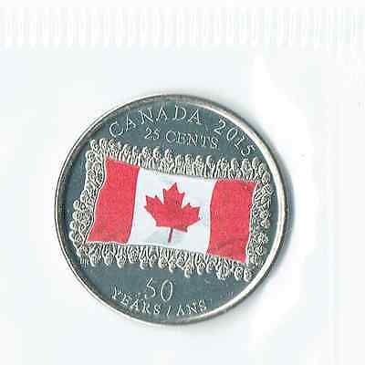 Canada   Twenty-Five Cents 2015 Coloured Flag Quarter Uncirculated
