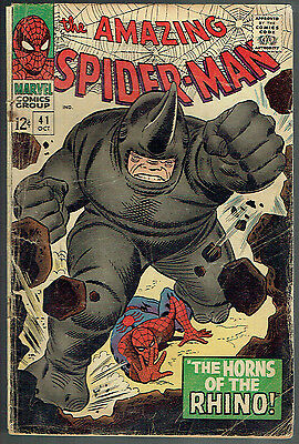 AMAZING SPIDER-MAN  41  GD+/2.5  -  1st appearance of the Rhino!