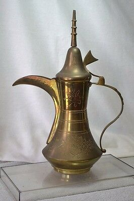 "Antique Islamic Turkish Ottoman Brass Gold Dallah 13"" TALL"