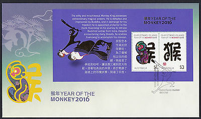 Australia: 2016 CI LNY - Year of the Monkey First Day Cover (minisheet)