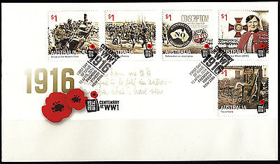 Australia: 2016 Centenary of WWI - 1916 First Day Cover (gummed)