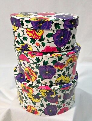 *Set of 3* Nesting Oval Pink Purple Yellow Floral Pansy Gift Boxes