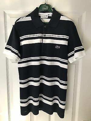 Lacoste Made In France Slim Fit Polo Shirt Navy/white Stripe Size Small Rrp £110