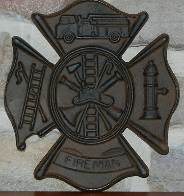 FIREMAN FIREFIGHTER SIGN ~ Free S/H ~ Wall Plaque ~ NEW CAST IRON ~ Great Gift !