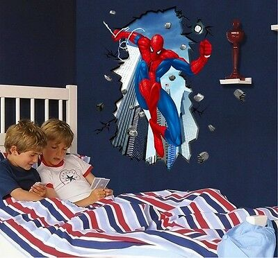 Spider-man Cracked Wall Mural Vinyl Wall Decal Sticker Kids Nursery Room Decor P