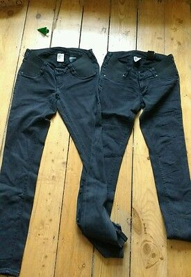 H&m skinny under bump maternity jeans size 8 (two pairs)