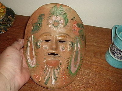 South American/Mexico Birds & Face Ceramic Mask 8 inches tall