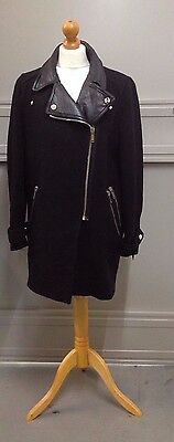 Zara Woman Black Wool Coat with faux leather trim Size Large