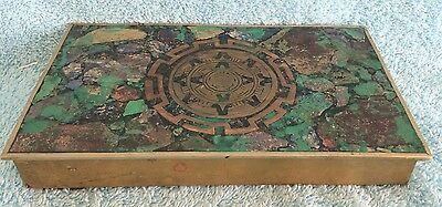 Vintage Brass Turquoise Inlaid Trinket Box Hinged Lid with Wooden Insert