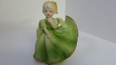 Vintage Reubens Girl Figurine Planter, Blonde Hair, Green Dress Gold Trim, Japan