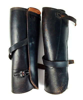 Authentic WWI US Army Leather Gaiters Spats Cavalry Shin Guards Good Wear a1