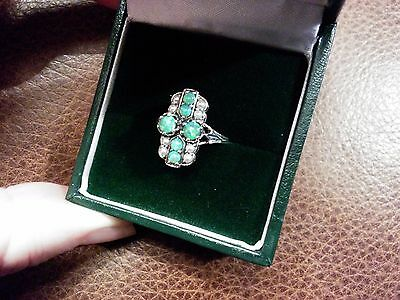 NEW 1ct AUSTRALIAN OPAL+ SEED PEARL ART DECO STERLING SILVER   925 RING SIZE M