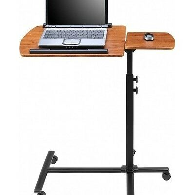Laptop Cart Desk Table Stand Portable Rolling Mobile Adjustable Computer Office