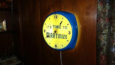 Large Art Deco Vtg Martinize Lighted Store Advertising Clock Sign Glass Bubble