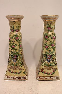 Pair of Chinoiserie Pale Yellow Porcelain Candle Stick Holder Floral Pattern