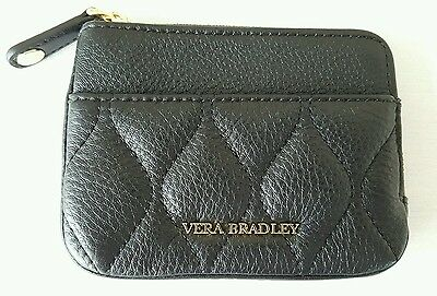 NEW Vera Bradley Black Leather ID Zipper Coin Purse Credit Card Wallet $58 NWT