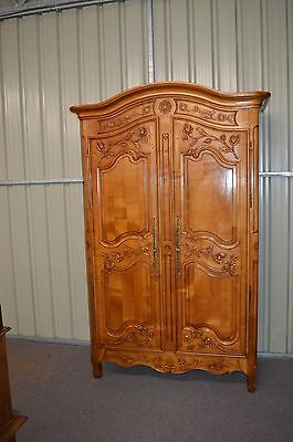 French carved walnut  double wardrobe armoire