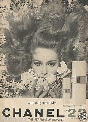 1965 CHANEL No 22 Woman Surrounded By Flowers Perfume Cologne Vintage Print Ad