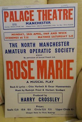 Six Amateur theatre card posters 1960's North Cheshire etc