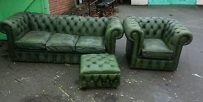 Vintage leather Chesterfield 3 Seater Sofa Settee club chair & foot stool suite
