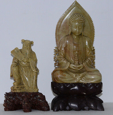 Pair of 19th/20th century Chinese soapstone figures