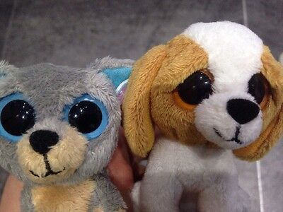 Beanie Boo Dog Keychains - Scraps And Cookie With Tags RARE Immaculate Condition