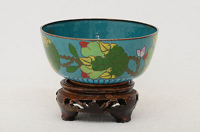 Chinese early 20th century cloisonne bowl with stand