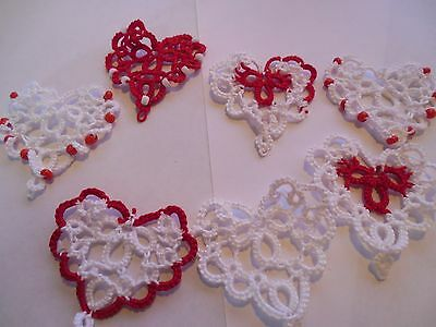 Tatted 14 Red White Hearts from Dove Country Tatting