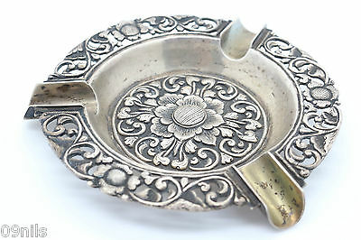 Silver Ashtray Yogya .800 Lotus Flowers Marked TH800 Indonesia Dutch: Djokja #1