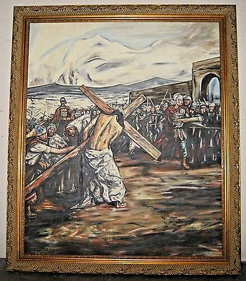Original Signed Clemente R. Christ Carrying Cross Mexican Muralist Style Framed