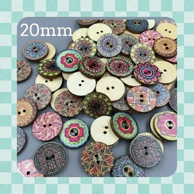 50 Shabby Chic Vintage 20mm Round Wooden Buttons - Scrapbooking - Crafting UK