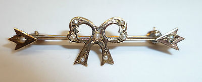 Antique 10K Gold Bar Pin ' Bow ' With Seed Pearls Stamped C. 1900 Edwardian