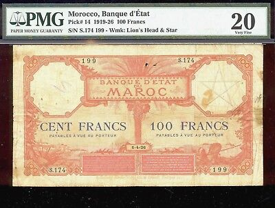 bucksless 1786:PMG20 MOROCCO 100 FR 1926, SCARCE IN ANY GRADE. FRANCE, SPAIN