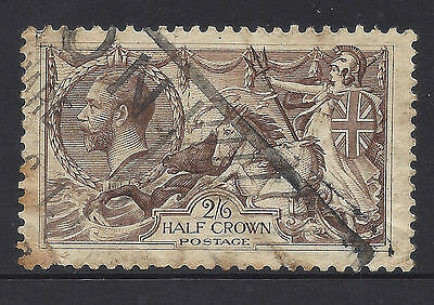 Faulty GREAT BRITAIN UK Used Seahorse Stamp #179 Cat $75 (#D4335)