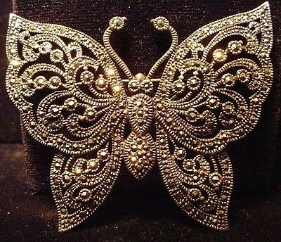 Large  Signed Nf Vintage Sterling Silver Marcasite Butterfly Pin Quality