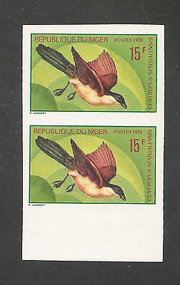 Niger #235 VF MNH IMPERFORATED PAIR - 1971 15fr Senegalese Coucal - Birds