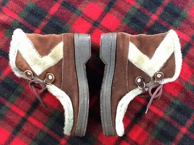 Vintage Brown Faux Fur Suede Mukluk Boots Apres Ski Made in Italy Size 10