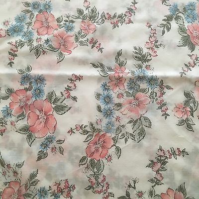 Vtg 2 Cannon Monticello Standard Pillowcases Pink Blue Flowers