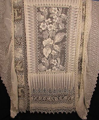 Normandy Lace Spread W/embroidery, Tambour, Chainstitch, Figural Filet Panels